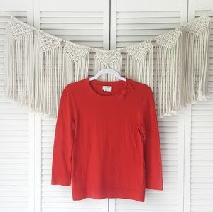 KATE SPADE Red Shoulder Bow Crewneck Sweater S